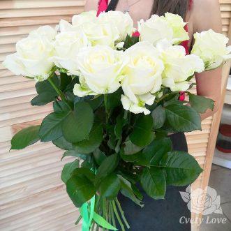 Букет из 15 белых роз 70 см